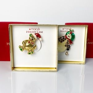 Macy's Holiday Lane Bear and Snowman Brooches